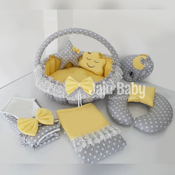 Jaju Baby Gray Star Solid Color Yellow Baby Bedding Set, Swaddle, Breastfeeding Pillow, Play Mat, Pique Quilt, Cloud Pillow Set