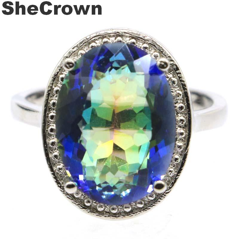 19x15mm Deluxe SheCrown Oval Created Fire Rainbow Mystic Topaz Gift For Woman's Jewelry Making Silver Rings