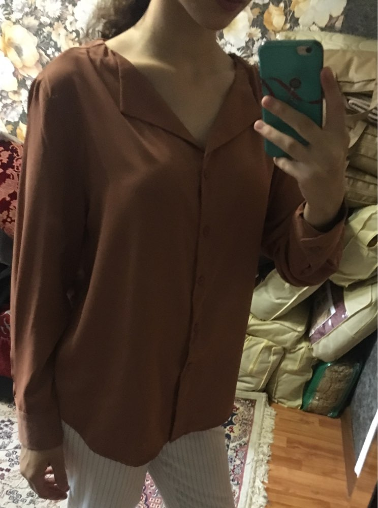 Autumn New Solid Women Chiffon Blouse Office Lady V Neck Button Loose Casual Solid Female Shirts Outwear Tops photo review