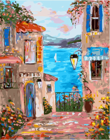 Painting By Numbers PK 45070 Lane With Sea View 40*50