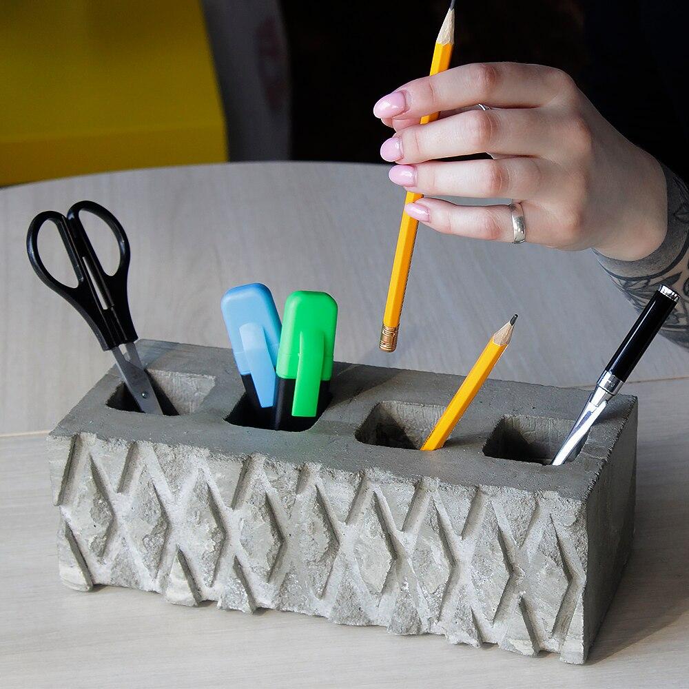 Бетонный органайзер, органайзер из бетона, подставка для ручек, карандашей, органайзер для офиса Подставки для ручек    АлиЭкспресс