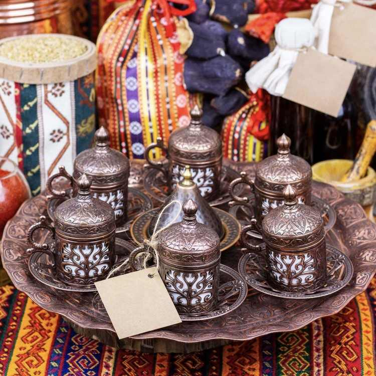 Copper Espresso Set Engraved Turkish Coffee Set For 6 Person with Sugar Bowl and Decorative Tray Hand Painted Coffee Set Coffee Tray