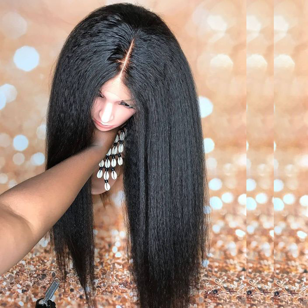 Kinky Straight 360 Lace Frontal Wig Pre Plucked With Baby Hair Italian Yaki Lace Human Hair Wigs Beaudiva