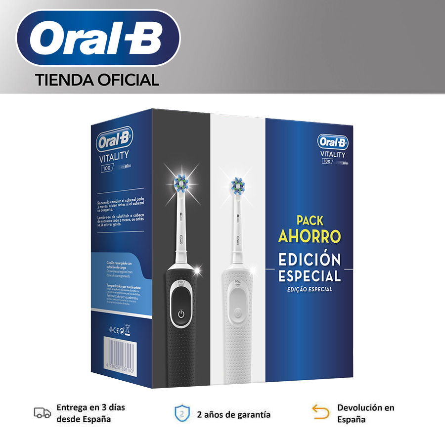 Oral B Vitality D100 CrossAction, white/black rechargeable electric toothbrush, 2D cleaning, head oscillates and rotates