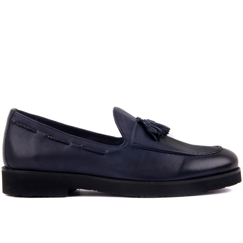 Sail Lakers-Navy Blue Leather Step-in Men Casual Shoes