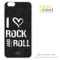 FunnyTech®Stand case Silicone for Nokia 7 Plus l I Love Rock and Roll plain black background