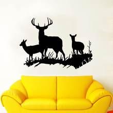 Наклейка на стену с изображением оленя в лесу декоративная Съемная