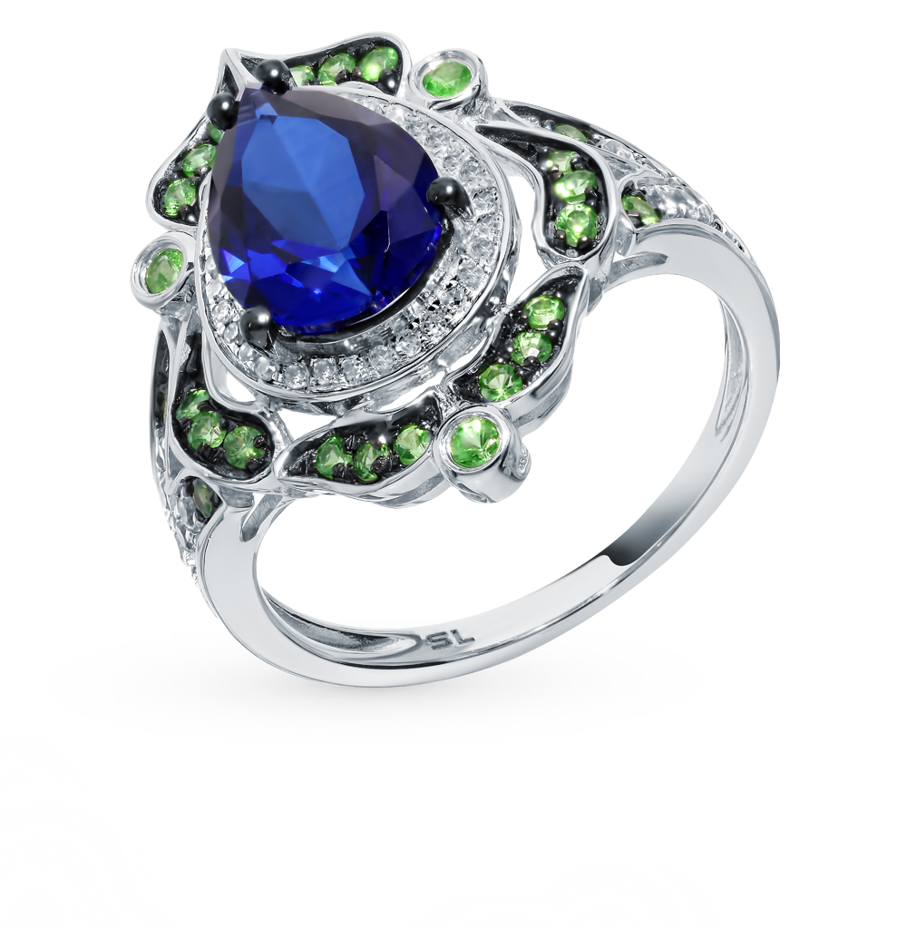 Gold Ring With Sapphires, цаворитами And Diamonds Sunlight Sample 585
