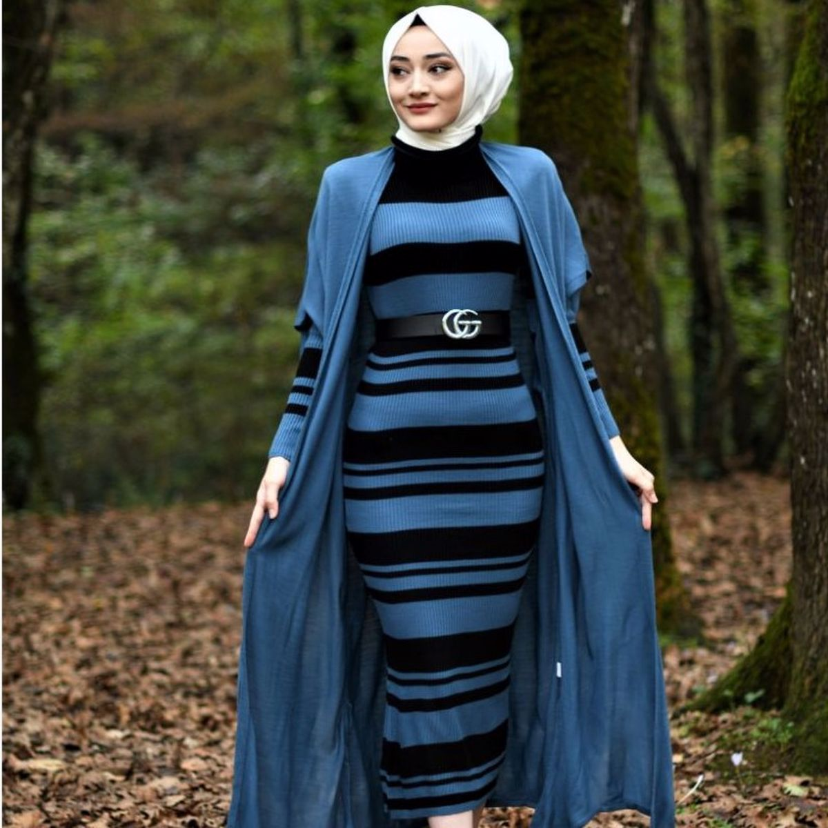 2 Pieces Striped Women's Set, Maxi Dress and Cardigan Double Suit For Winter Islamic Fashion Muslim Clothing Turkey Dubai 2021
