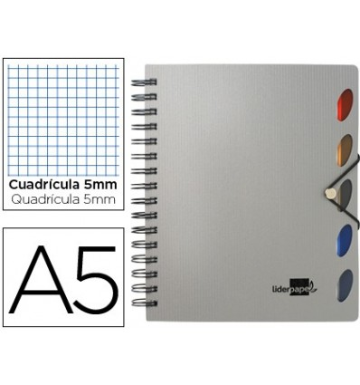 SPIRAL NOTEBOOK LEADERPAPER A5 MICRO EXECUTIVE PLASTIC CAP 100H 80GSM TABLE 5MM 5 SEPARATORS WITH GOMILLA SILVER