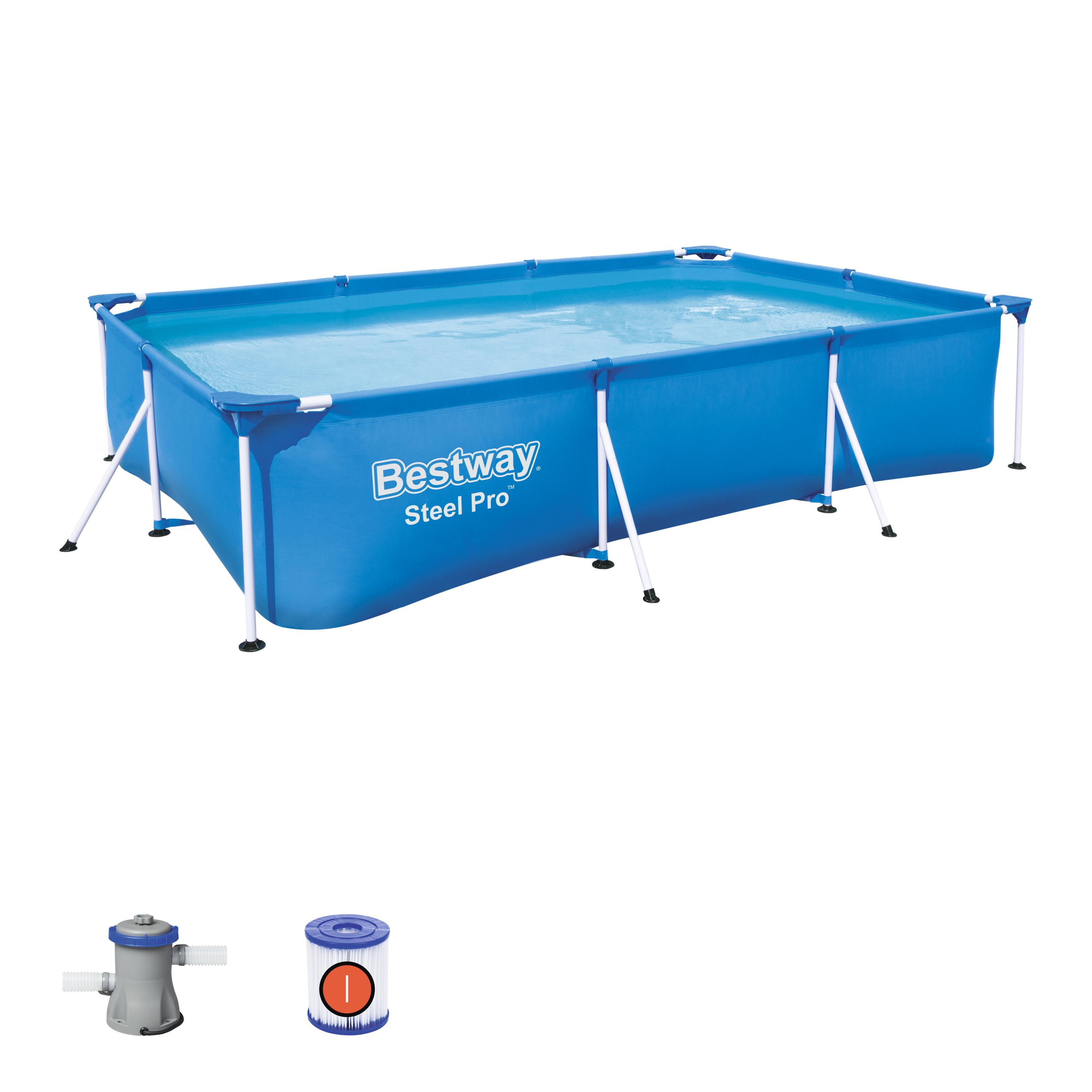 Scaffold Rectangular Pool 300 х201х66 Cm, 3300 L, With Filter, Steel Pro Bestway, Item No. 56411