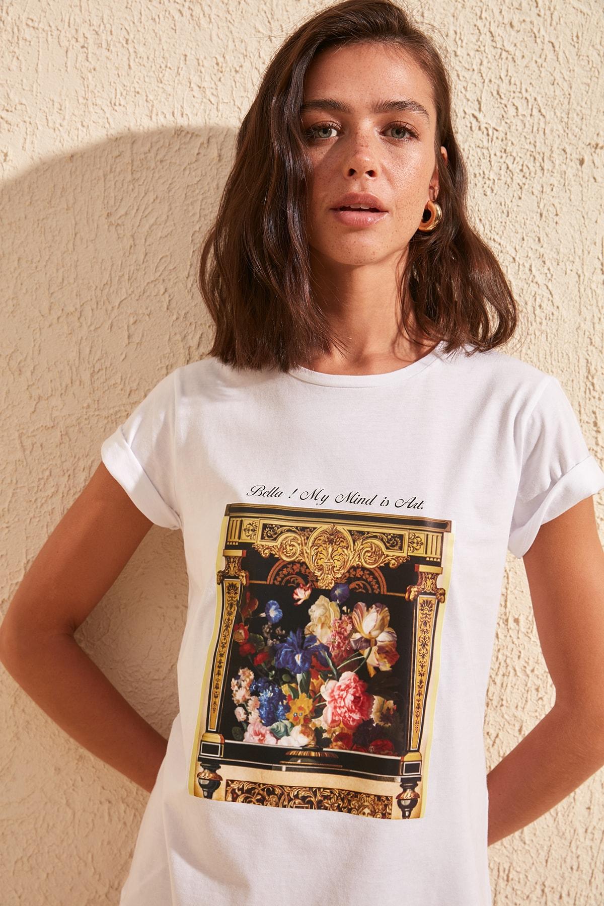Trendyol Printed Basic Knitted T-Shirt TWOSS20TS0996