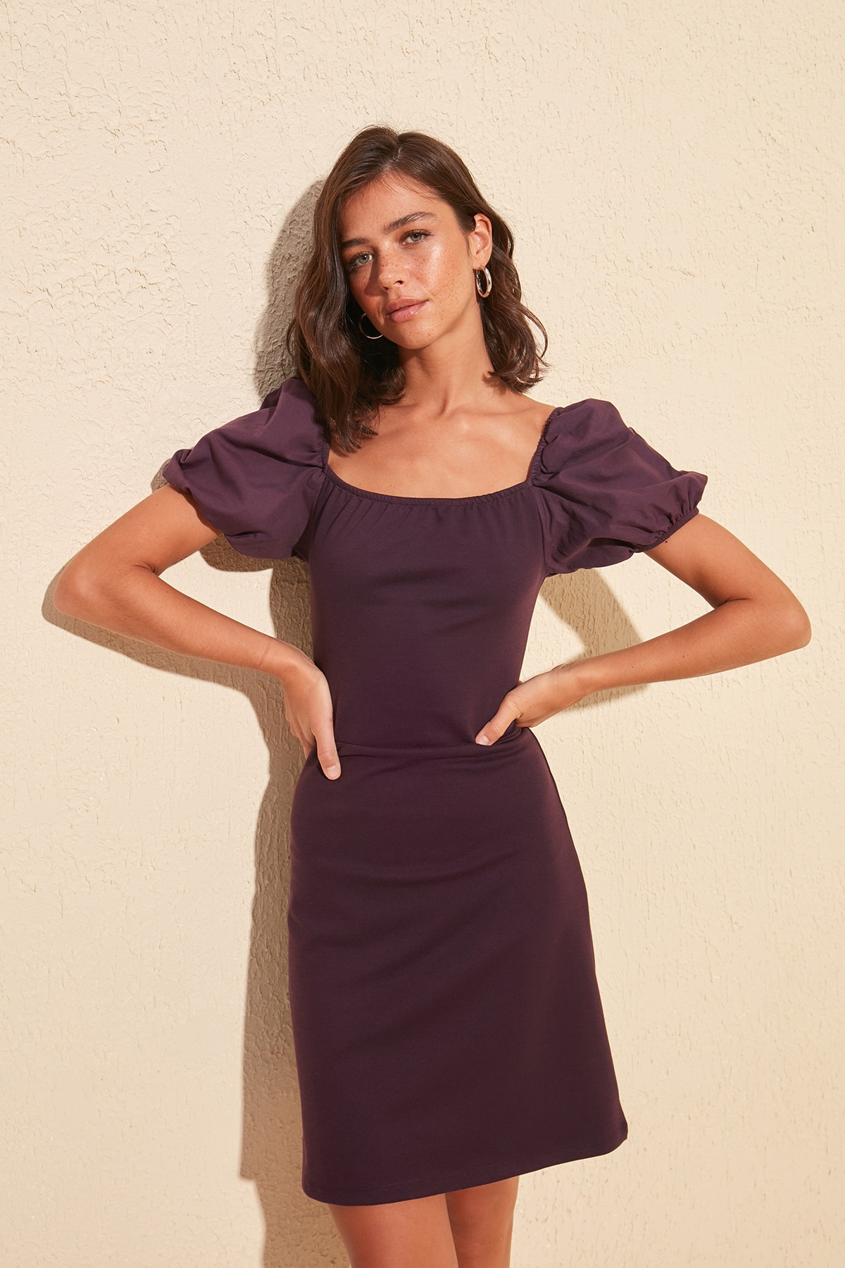 Trendyol Balloon Sleeve Poplin Detailed Knit Dress TWOSS20EL1723