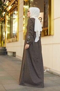Herringbone Fisto Women s Dress Modest Caftan Islamic Clothing Muslim Fashion for winter Maxi Dresses