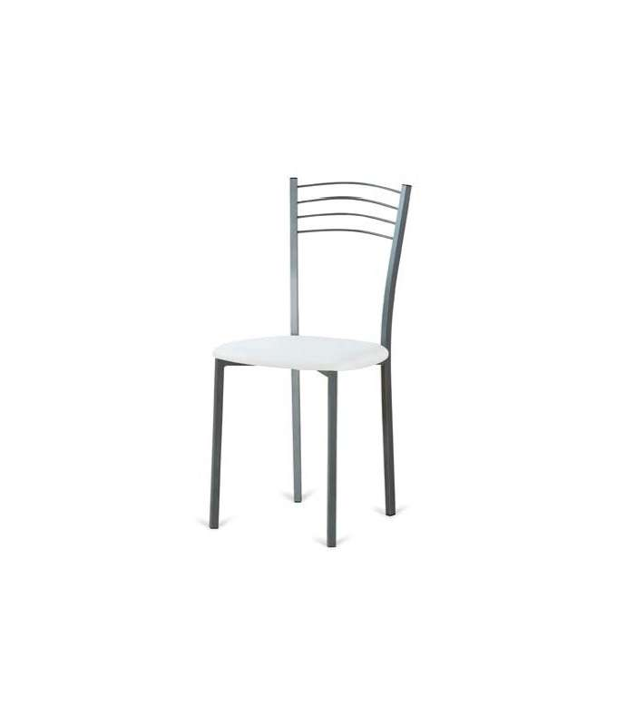 Pack Of 4 Metal Chairs Upholstered In White Cadiz