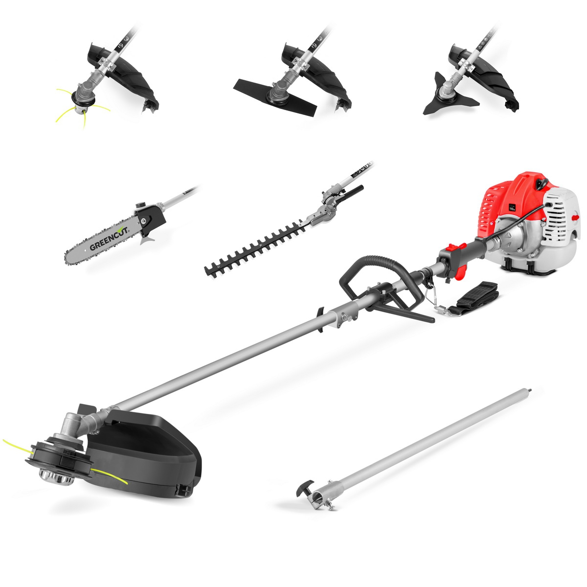 Tool Multifunction 6 In 1 GREENCUT, Gasoline 65cc, 6 Accessories, Brushcutter Function + Mower + Hedge