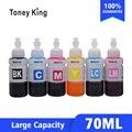 Kits de recarga De Tinta da impressora de tinta cores 70 6 ml Compatível para Impressora Epson L800 L801 L805 L810 L850 L1800 L351 L353 L551 P50 T50