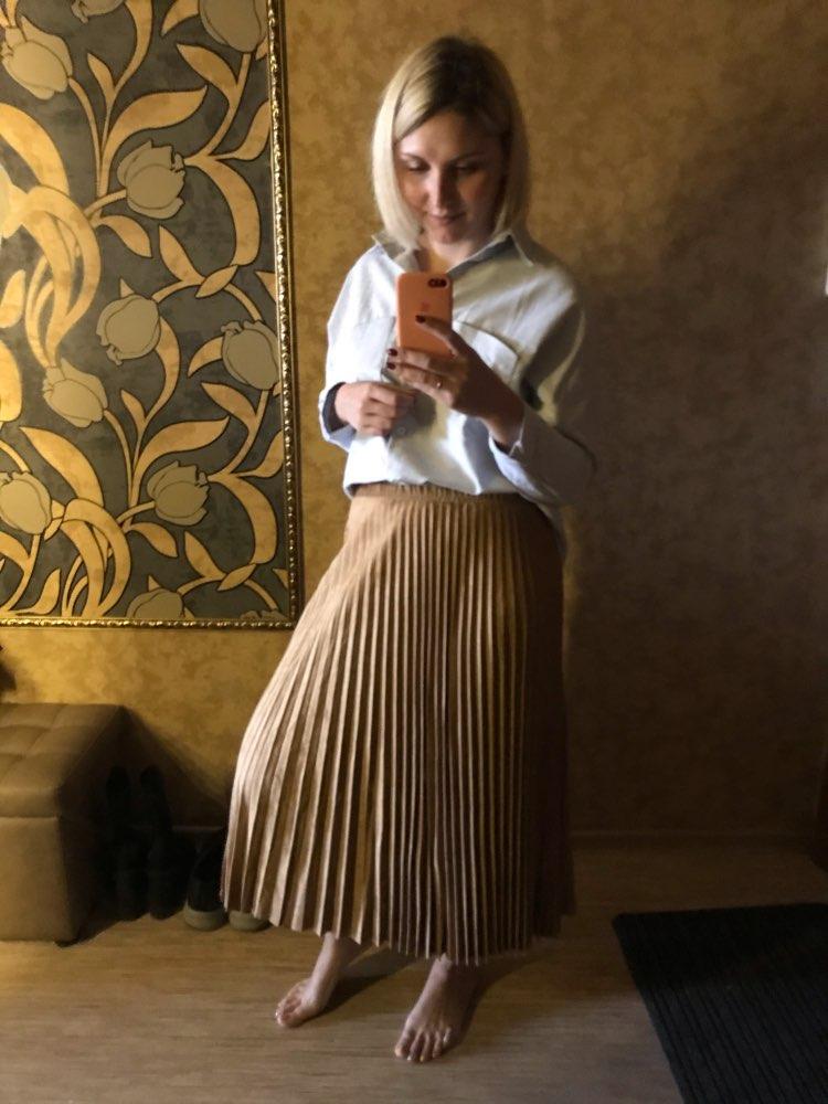 Two Layer Autumn Winter Women Suede Skirt Long Pleated Skirts Womens Saias Midi Faldas Vintage Women Midi Skirt photo review