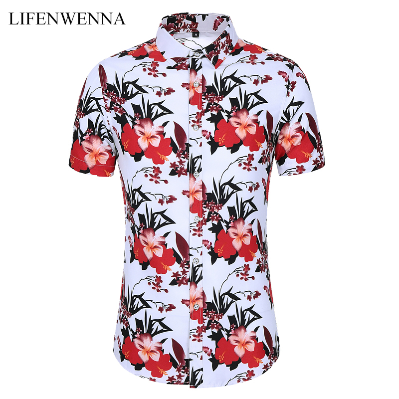 Plus Size M-7XL New Summer Men's Flower Shirt Fashion Printing Short Sleeve Shirts Men 2020 Casual Beach Hawaiian Shirt Male