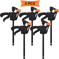 4 inch 3/4/5pcs Woodworking Bar F Clamp Clip Hard Grip Quick Ratchet Release DIY Carpentry Hand Vise Tool