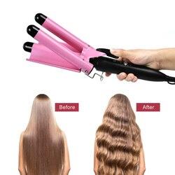 Professionnel 3 baril fer à friser baguette céramique Tourmaline chauffage rapide sertisseur cheveux agitant des outils de coiffure pour les femmes filles