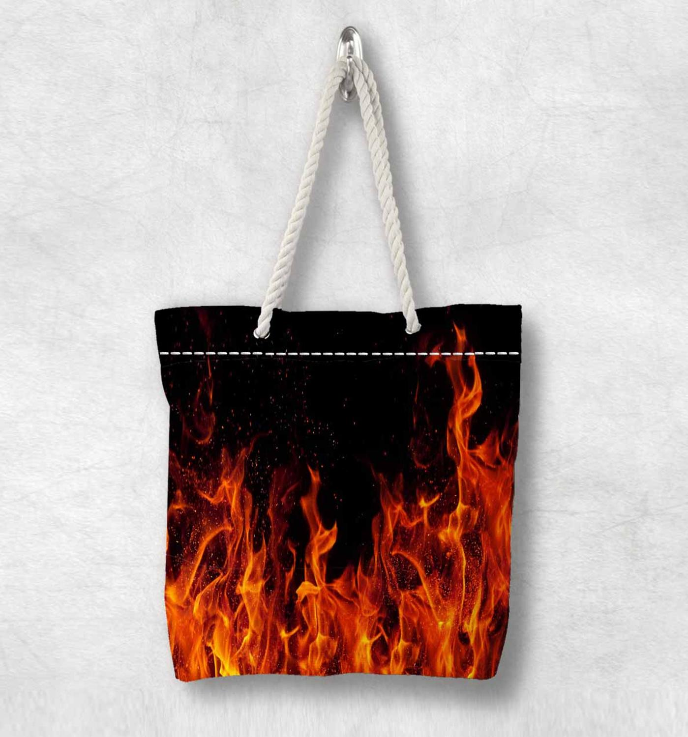 Else Black Floor Red Orange Fire Flames New Fashion White Rope Handle Canvas Bag Cotton Canvas Zippered Tote Bag Shoulder Bag