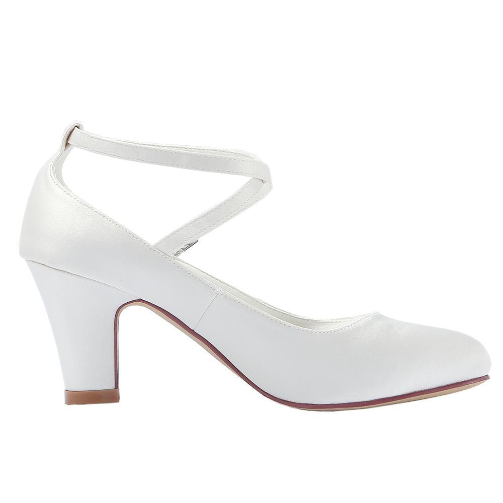 Tacón medio zapatos de boda marfil blanco Cruz tobillo Correa bloque tacones mujeres damas novia fiesta nupcial noche bombas marina HC1808-in Zapatos de tacón de mujer from zapatos    3