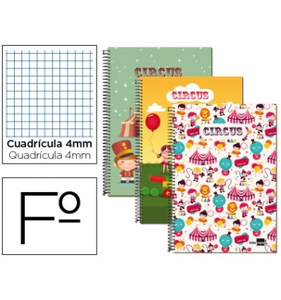 SPIRAL NOTEBOOK LEADERPAPER FOLIO 80H FRAME 4MM SOFTCOVER 60 GR FANTASIA CIRCUS