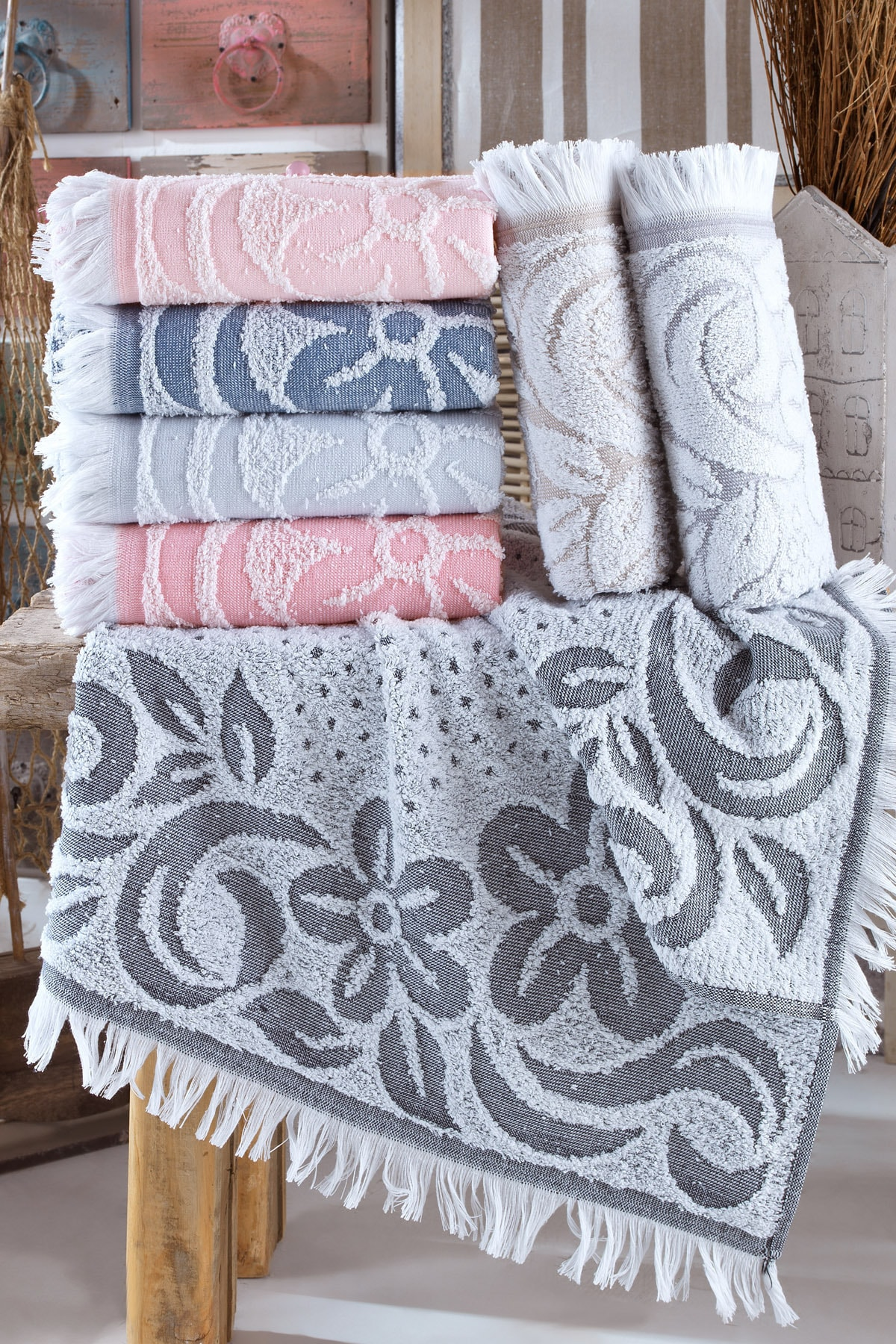 Peonia Floral Embroidery Hand And Face Towel Set 6 Pieces 50x90 cm 100% Cotton Jacquard Fringed Quick-Dry Kitchen Turkish Towel