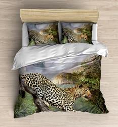Else 4 sztuka zielona tropikalna dżungla na dziki lampart 3D drukuj bawełna satynowa podwójna poszewka na kołdrę zestaw poszewka na poduszkę prześcieradło