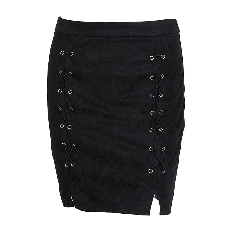 New fashion Women Ladies High Waist Pencil Skirts button lace patchwork sexy Bodycon Suede Leather split party casual Mini Skirt 63