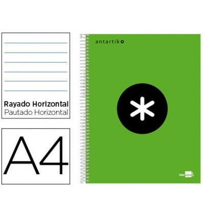 SPIRAL NOTEBOOK LIDERPAPEL A4 MICRO ANTARTIK LINED CAP 120H 100 GR HORIZONTAL 5 BANDS 4 DRILLS COLOR GREEN