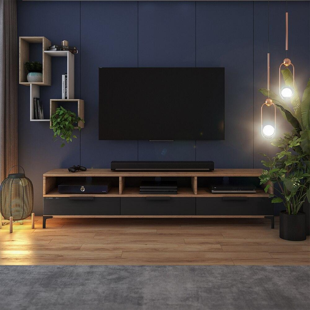 Meuble tv - RIKKE - 160 cm - chêne wotan / noir brillant - sans LED