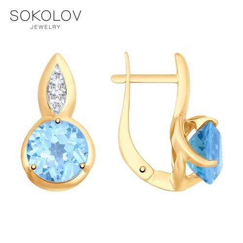 SOKOLOV Drop Earrings With Stones With Stones Of Gold With Topaz And Cubic Zirconia Fashion Jewelry 585 Women's Male