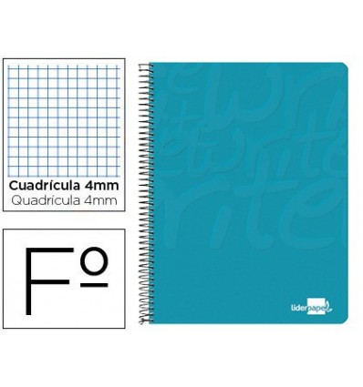 SPIRAL NOTEBOOK LIDERPAPEL FOLIO WRITE SOFTCOVER 80H 60GR TABLE 4MM WITH MARGIN TURQUOISE 10 Units