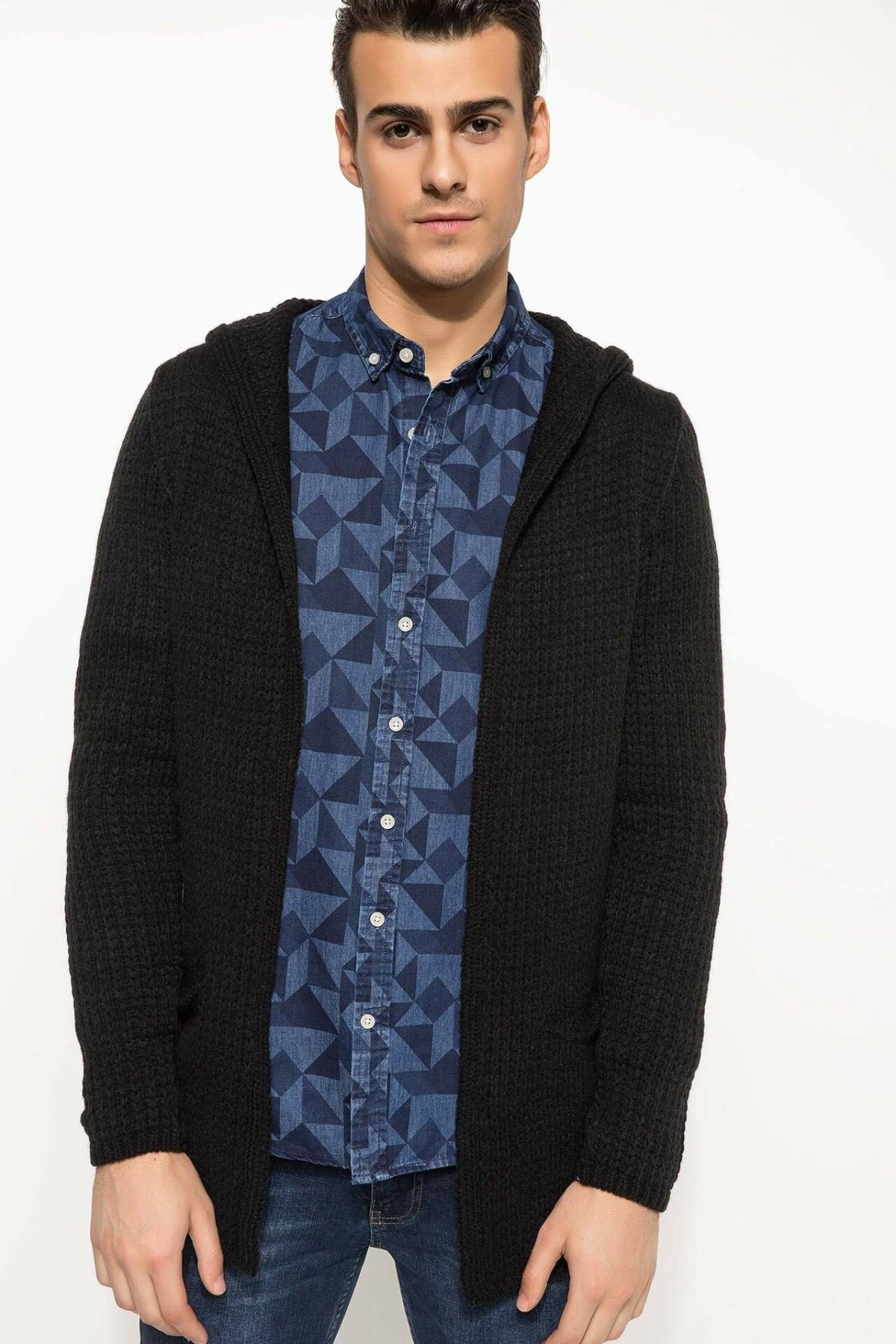 DeFacto Men Autumn Cardigan Black Long Sleeve Sweater Coat Casual Thin Male Hooded Knitted Coat/ Bolero-I3556AZ18SP