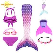 AngelGirl 2020 девушки хвост русалки с Флиппер бикини купальный Детский костюм купальник для детей костюм принцессы купальный костюм