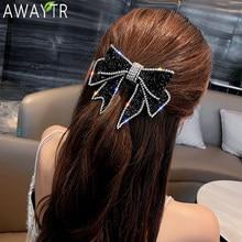 Pasadores de cristal con lazo grande para mujer, pinzas de pelo para mujer, soporte para Coleta, accesorios para el cabello para niña, horquillas con diamantes de imitación, cinta para el pelo