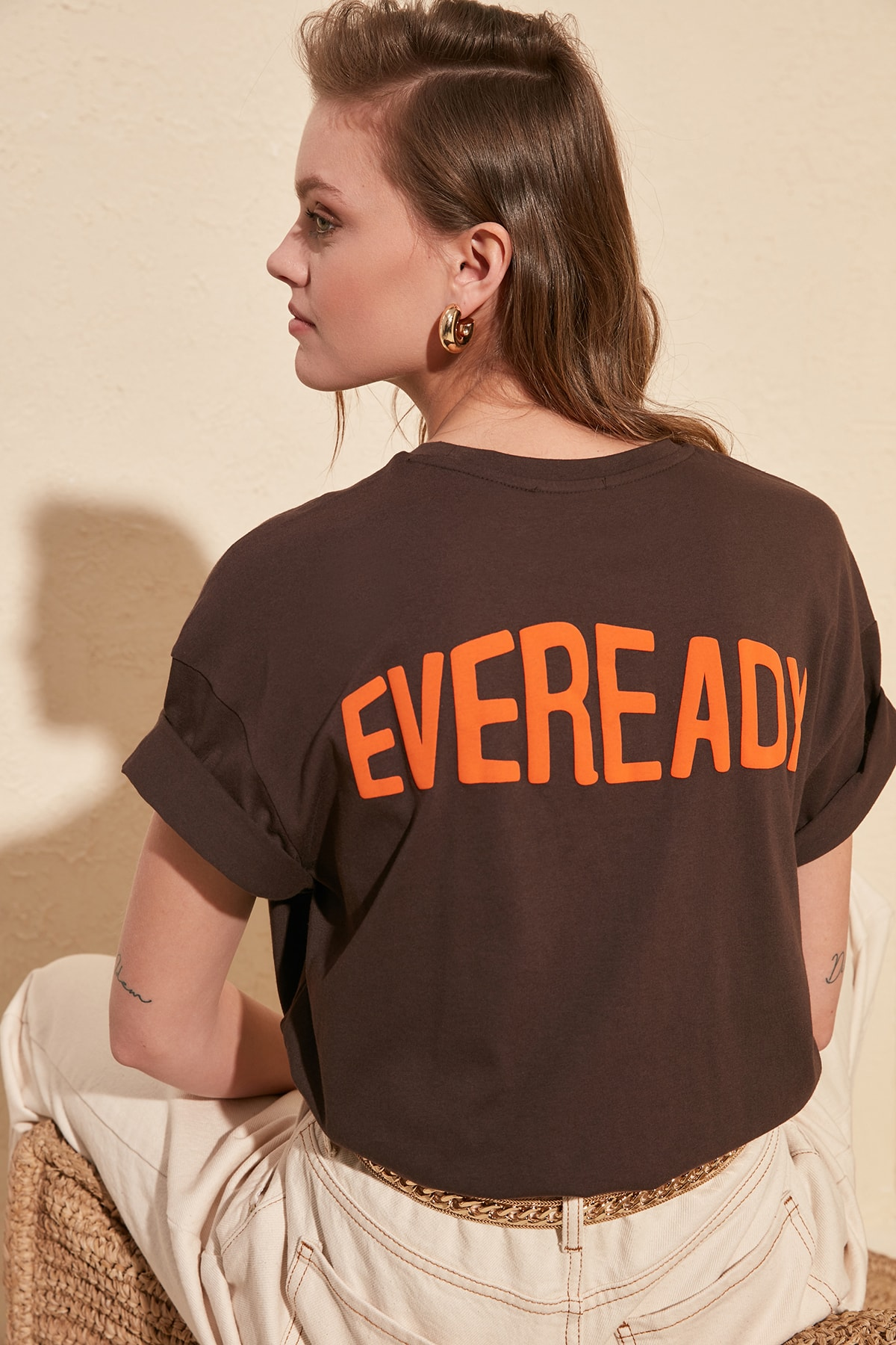 Trendyol Printed Boyfriend Knitted T Shirt TWOSS20TS0259