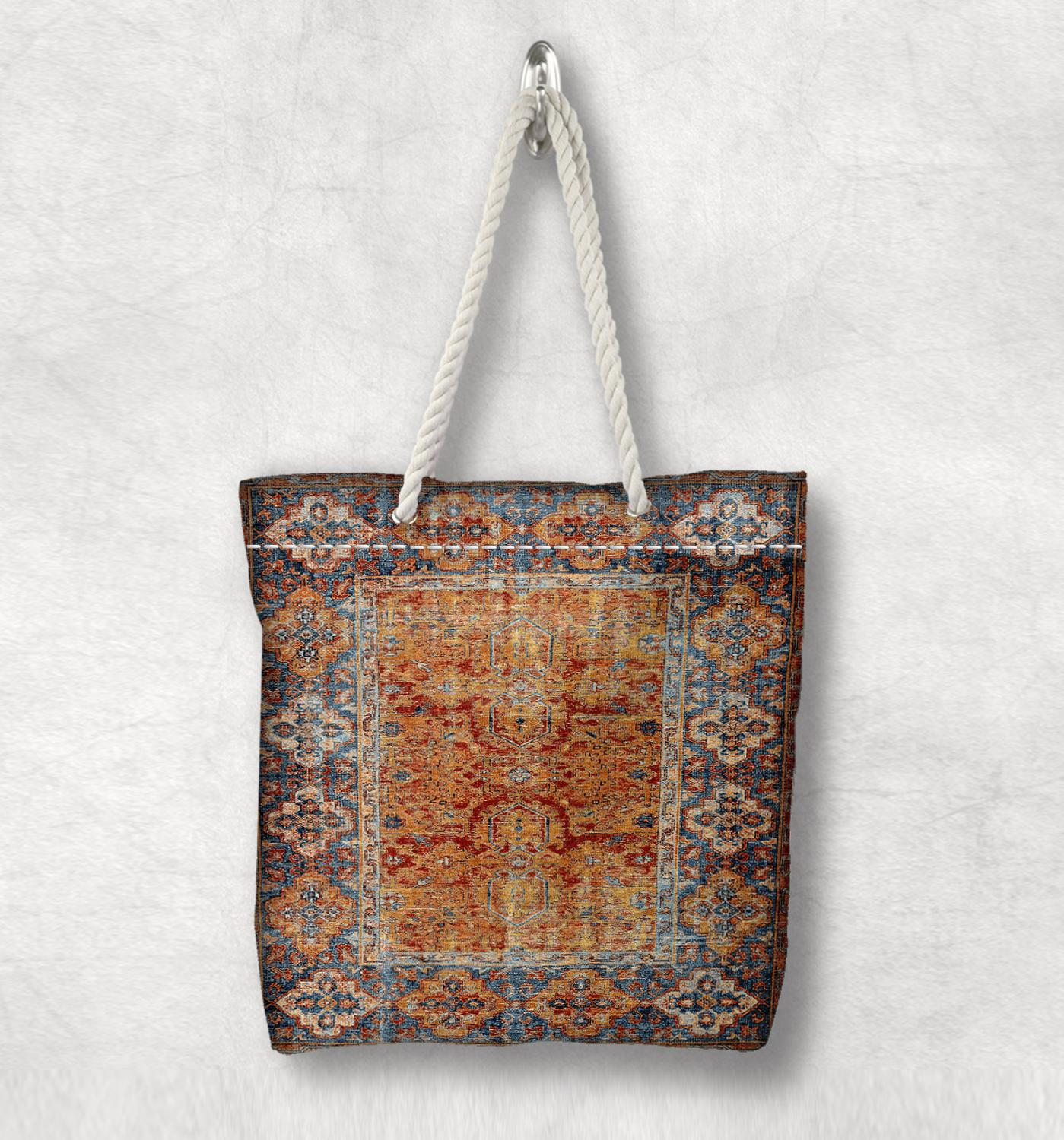 Else Orange Brown Turkey Anatolia Antique Kilim Design White Rope Handle Canvas Bag Cotton Canvas Zippered Tote Bag Shoulder Bag