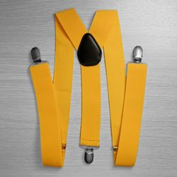 Suspenders for trousers wide (3.5 cm, 3 clips, yellow) 53212