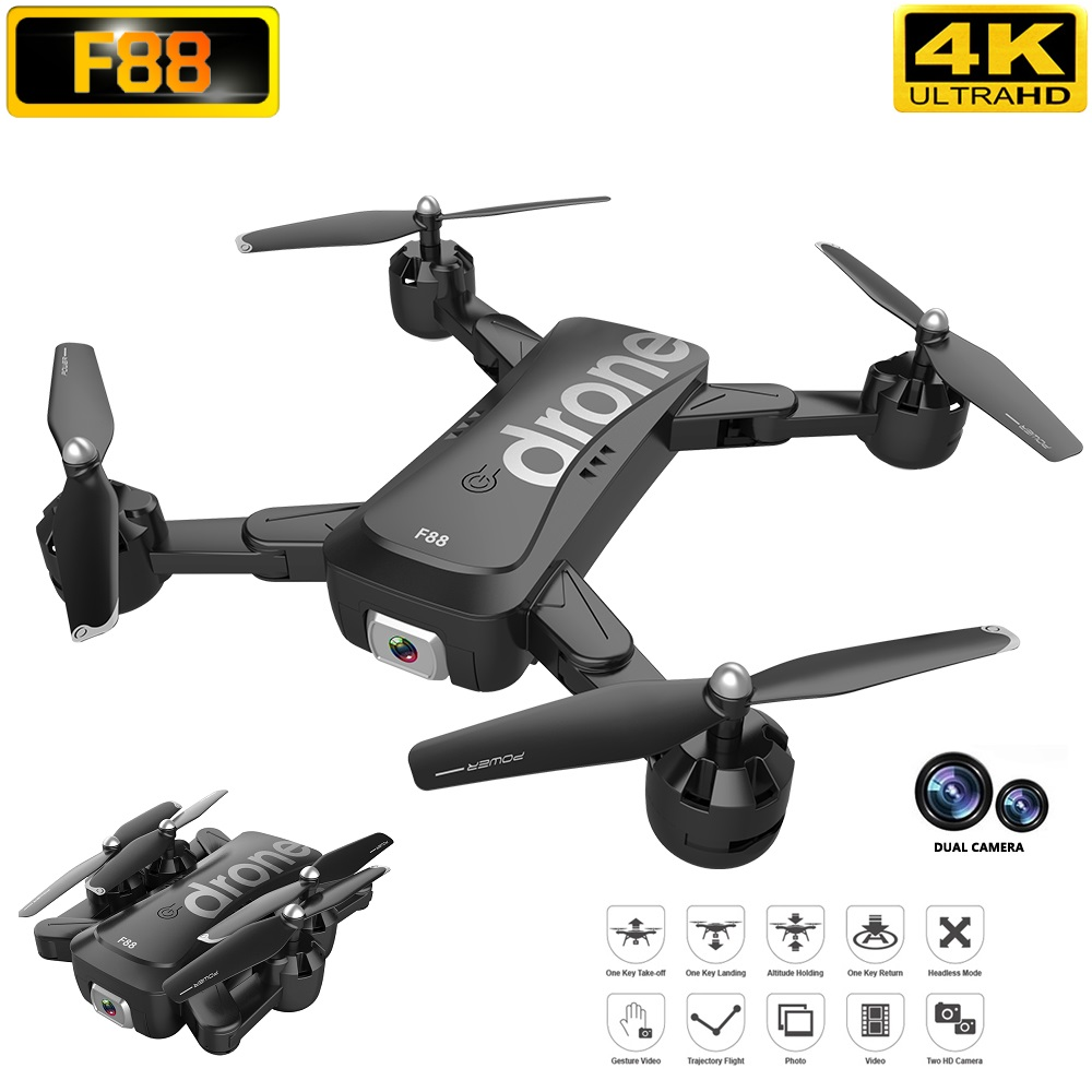 F88 4K 1080P Video Full HD Dual Camera RC Drone Auto Follow Optical Positioning FPV 2 4G WIFI Professional Quadcopter Helicopter