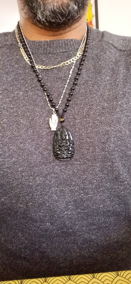 Natural Stone Black Obsidian Carved Buddha Pendant photo review