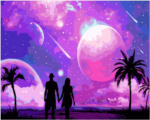 Painting By Numbers GX 34878 Space Landscape 40*50
