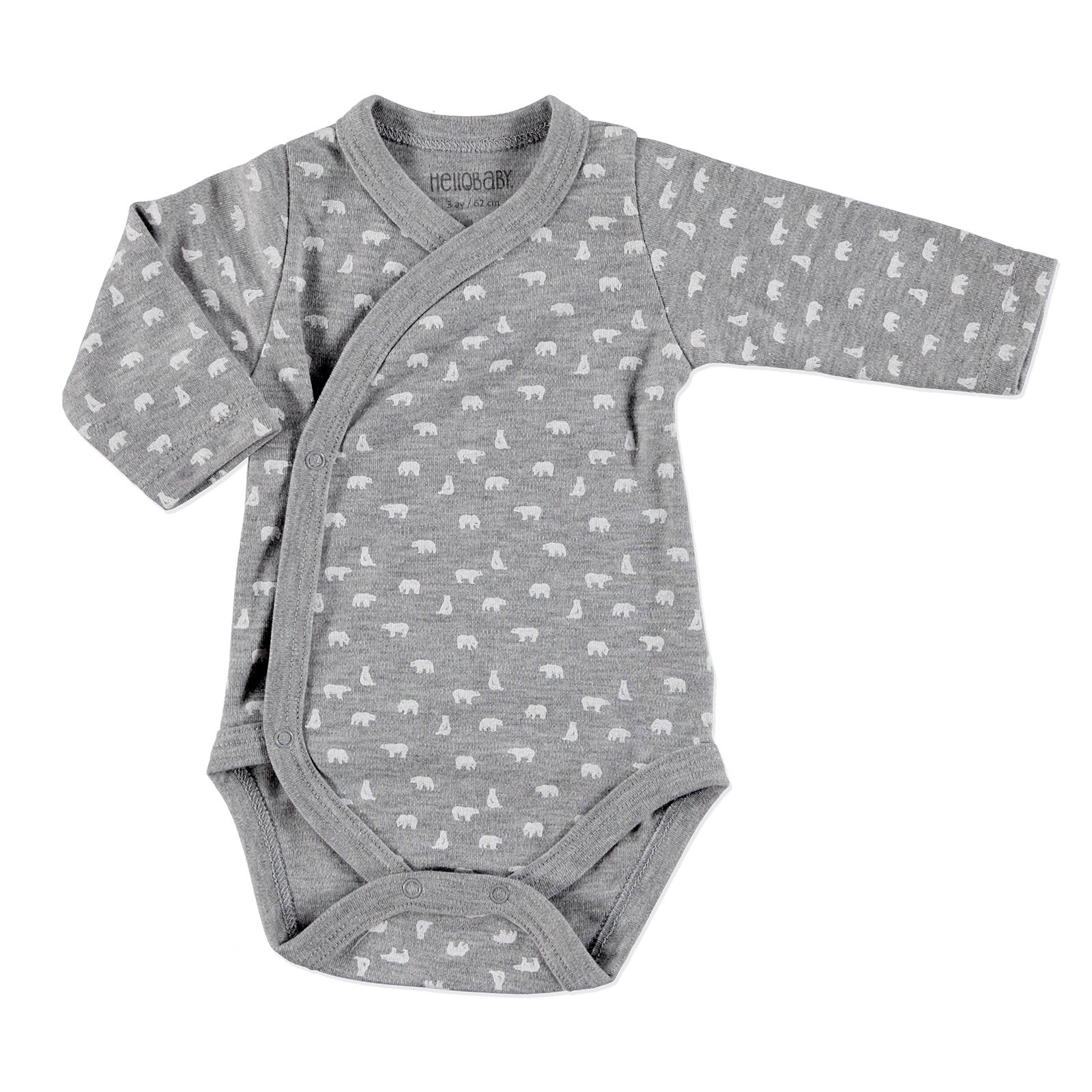 Ebebek HelloBaby Little Cute Paws Bear Printed Baby Bodysuit Footed Trousers Set