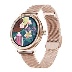 Image 4 - RUNDOING NY12 שעון אופנתי לנשים חכם שעון עגול למסך עגול עבור צג קצב לב הילדה תואם לאנדרואיד ו  IOS