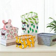 Desktop Storage Box Cotton Linen Waterproof Underwear Organizer Sundries Toy Bag Cartoon Printing Basket