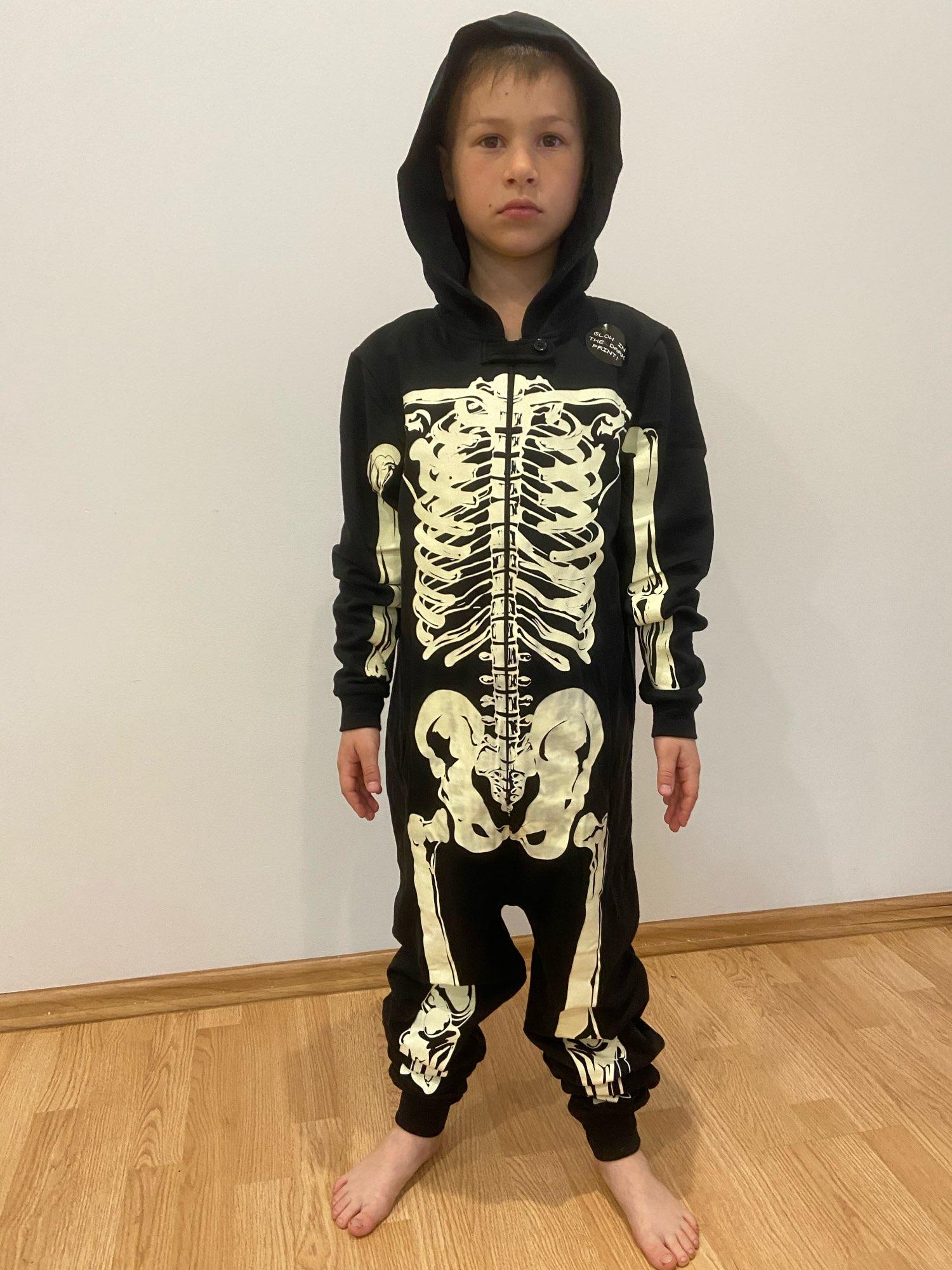 Autumn Winter Skeleton Overalls Jumpsuit Kids Pajamas Children Onesie Sleepers Pajamas Christmas Halloween Costumes photo review