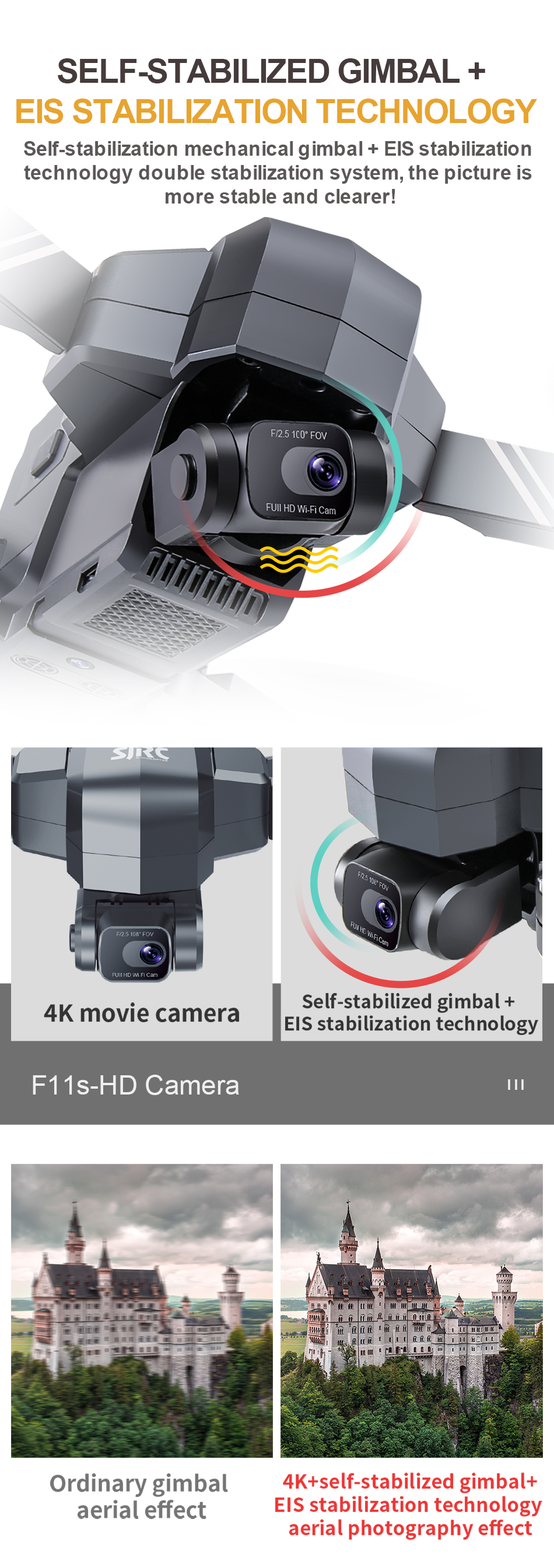 U4bddc6538f954f988acdca0c46087c63v - NEW SJRC F11S 4K PRO Video Camera Drone Professional GPS 2Axis Mechanical EIS Gimbal Quadcopter Brushless Dron Max Flight RC 3KM