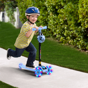 Children Scooter 3 Wheel T Bar Balance Riding Kick Scooters LED Wheel Adjustable Scooter Kids Birthday Gift Fun Sport Toy